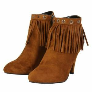 Details about Women's Ladies Ankle Boots Faux Suede Zip High Heel Fringe Tassel Girls Shoes