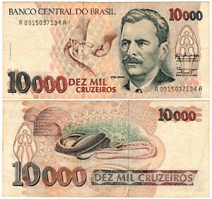 Brazil-10000-Cruzeiros-P-233a-1991-93-Banco-Central-do-Brasil-VF
