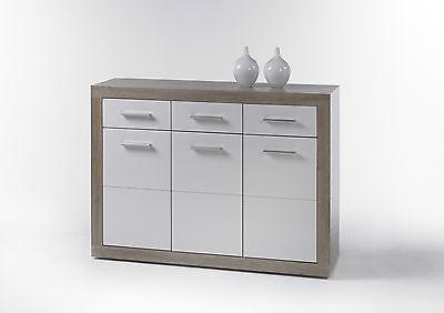 Kommode Can Can 2, Anrichte, Sideboard, Wohnzimmerschrank, Sonoma Eiche Weiß
