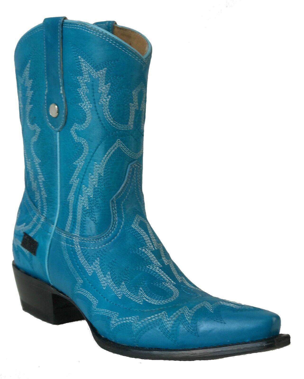 Women's New Leather Cowgirl Western Biker Boots Snip Toe bluee Sale