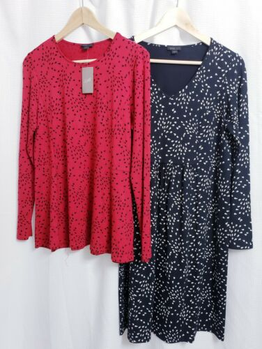 Lot of 2 J Jill Wearever Black Dress & Red L/S Top