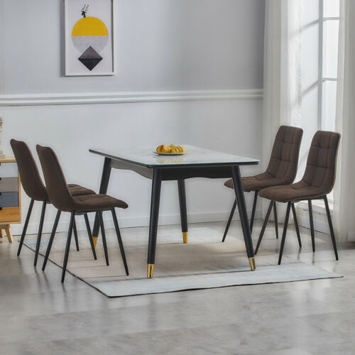 Retro Set of 2 Chairs Dining Living Room Chairs Grey Brown Faux Leather Suede