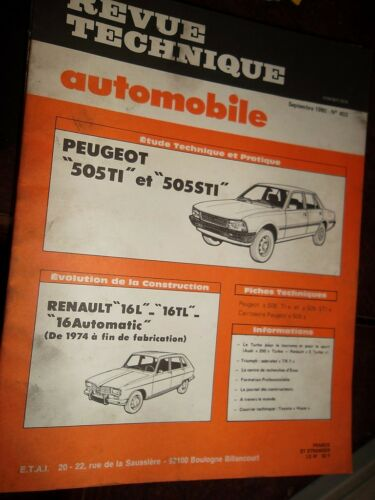 Peugeot 505 TI STI revue tech RTA 403