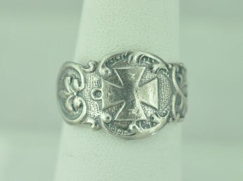 Beautiful 925 Sterling Silver Knight Templar Cross Spoon Ring