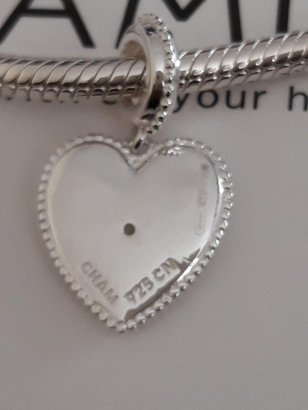 Autentico Chamilia 925 argentoo argentoo argentoo E Diamante Set Amore Cuore Ciondolo   San Valentino a782a9