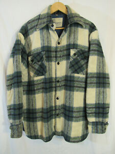 60s VTG Brewster Men's Plaid Heavy Wool Blend Lined CPO Jacket Size L (42-44)