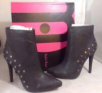 Michael Antonio Ankle Boots Heels Shoes Size 7 Faux Black Leather Zip Bootie