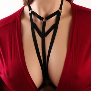 6bfb1f690269f Image is loading Sexy-Goth-Bralette-Lingerie-Elastic-Harness-Cage-Bra-