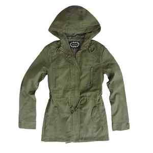 Women/'s Anorak Military Hooded Sherpa Lining Drawstring Parka Jacket Coat S-3XL