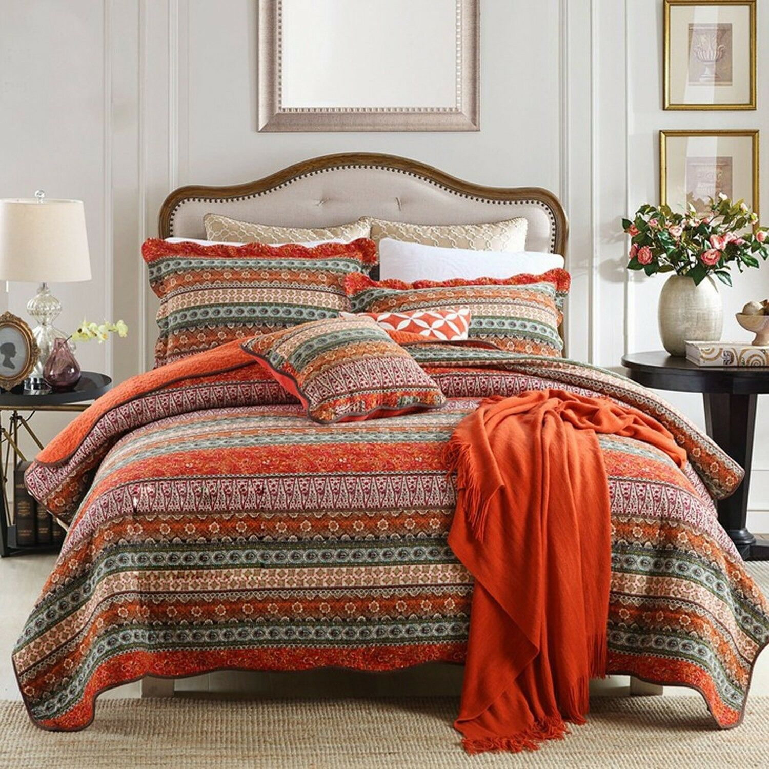 NEWLAKE Striped Classical Cotton 3-Piece Patchwork Bedspread Quilt Sets, King...