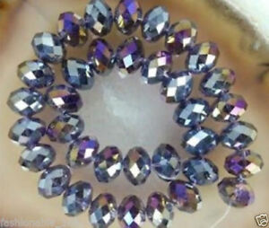 Diy Jewelry 70pc 6*8mm Faceted Rondelle glass crystal Beads purple AB