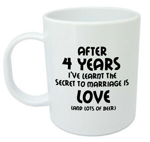 After 4 Years Ive Learnt Mug, 4th Wedding Anniversary Gifts For Men ...