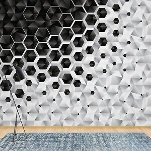Fototapete Vlies 3D Schwarz Weiß Modern - Schlafzimmer Wohnzimmer ...