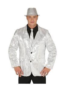 Adultes-Hommes-Disco-Argent-Paillete-Veste-Taille-Unique-Deguisement-Fete