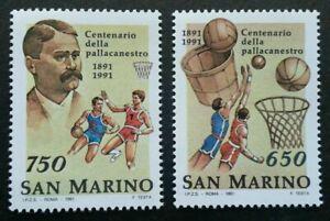 SJ-San-Marino-Centenary-Of-Basketball-1991-Sports-Games-Athlete-stamp-MNH