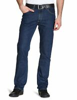 New Lee Brooklyn Mens Straight Leg Stretch Jeans Dark Blue Stonewash Denim Pants