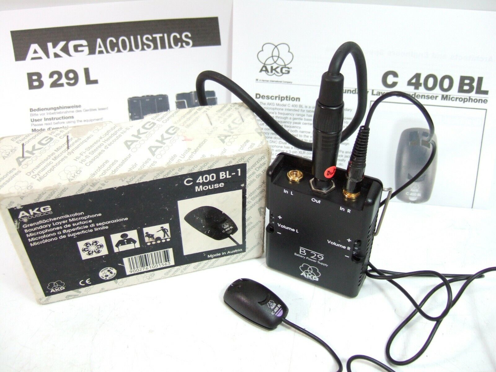 AKG C 400 BL Boundary Layer MICROPHONE & B29 Battery Power Supply (boxed)