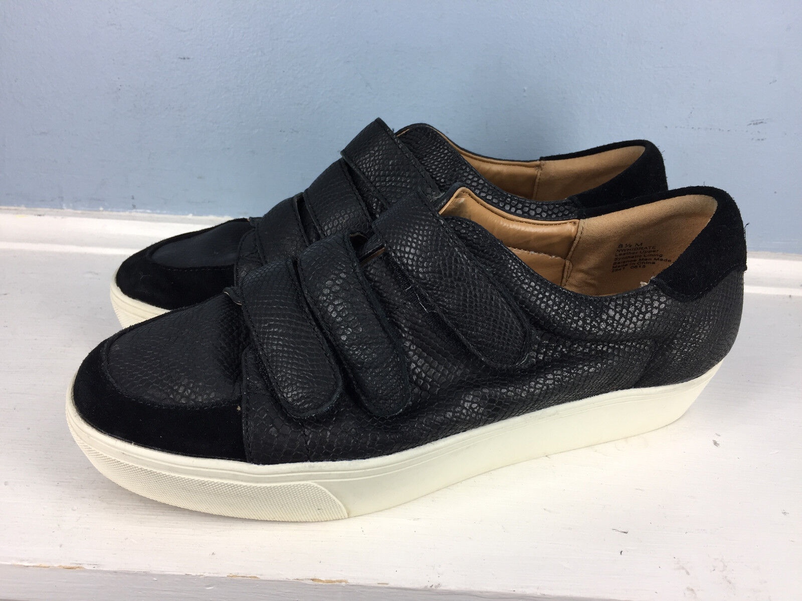 Nine West Hidrate Women 8.5 Platform Black Fashion Sneakers Repitle Platform 8.5 Leather EUC ea745f