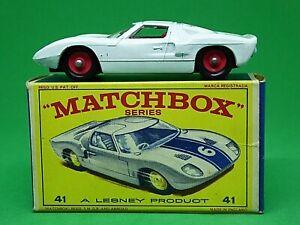 Matchbox-Lesney-No-41c-Ford-GT-40-tipo-034-E2-039-serie-Nuevo-Modelo-Caja-rara-Rojo-hubs