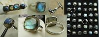 Labradorite Rings Larger Sizes 8 To 9.5 Set In Silver Plate Setting Nice Stones