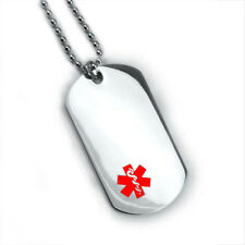 Custom engraved Medical ID Alert Dog Tag. Free 6 lines of engraving. Free Card!