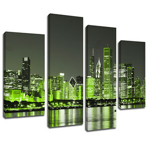 High Quality Image Is Loading MSC345 Green New York City Canvas Wall Art  Part 3