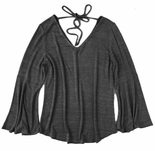 LOFT NWT Black Space-Dye Bell Sleeve Double V-Neck Sweater Tee Womens XL