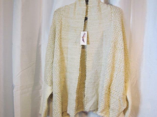 NWT Jessica Simpson XL Ivory gold Metallic Buttonless Cardigan Sweater Org