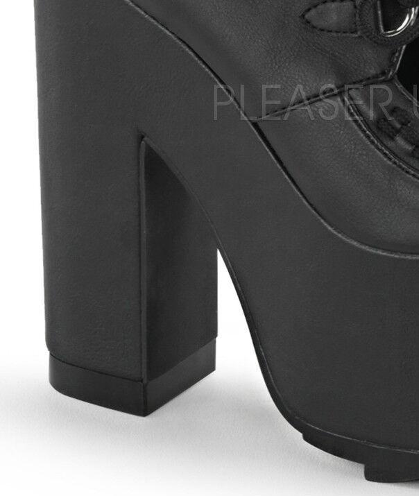 Demonia crampes - 01 Noir Vegan Cuir Cuir Cuir Lacets Ridged Plateforme Bloc Talon Chaussures 3e888f