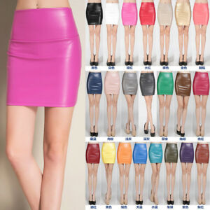 Sexy-Womens-High-Waist-PU-Faux-Leather-Wet-Look-Stretch-Bodycon-Short-Mini-Skirt