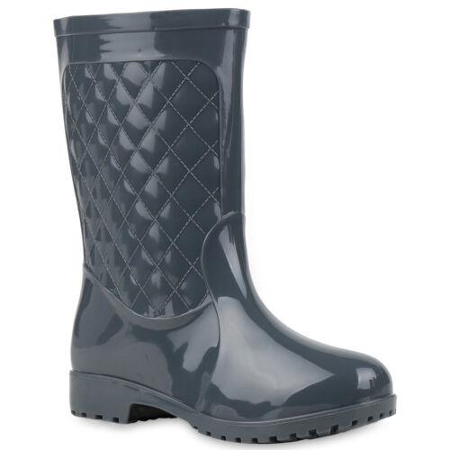 Damen Gummistiefel Stiefeletten Regenschuhe Lack Boots Stiefel 77147 Mode