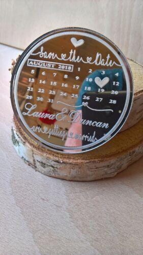 Joli rond calendrier Save the Date Aimants De Réfrigérateur Gratuit Enveloppes miroir