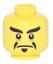 Lego New Yellow Minifigure Head Dual Sided Black Eyebrows Stern Face