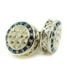 Cufflinks Circular Blue Silver Crystal Wedding Groomsman Pair Men's Cuff Links