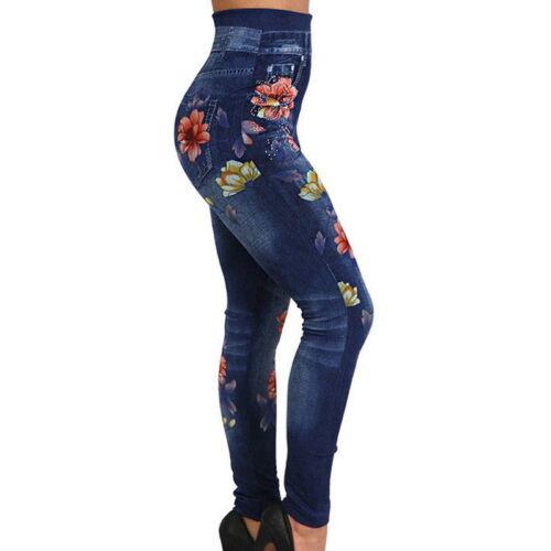 Femmes d/'été Rose Leggings Imprimé Skinny taille haute Strass Jeans Pantalons