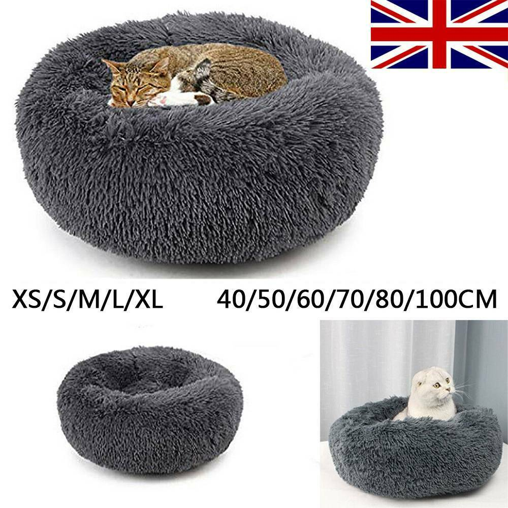 Comfy Calming Dog/Cat Bed Pet Beds Round Super Soft Plush  Puppy Beds 3