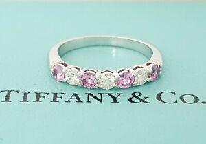 cb919193e Tiffany & Co Embrace 0.64 ct Platinum Pink Sapphire & Round Diamond ...