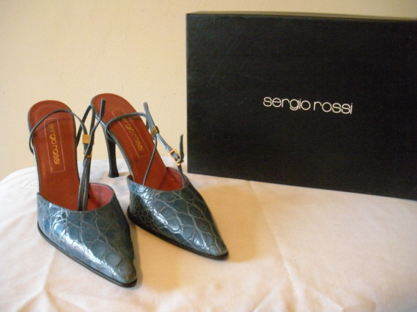SEXY~!  NIB  530 SERGIO ROSSI Blue Crocodile Leather  Ankle Strap Shoes ITALY 7M