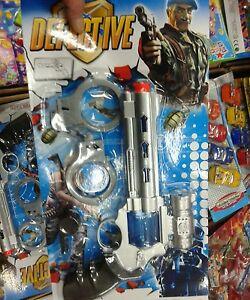Dettagli su Set detective pistola manette Kit gioco di qualità giocattolo toy