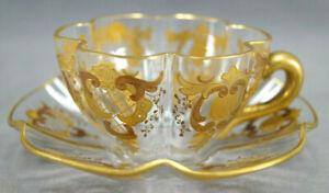 Enamel Flowers Cup and Saucer Heavy Gold Bohemian Czech Cobalt Green Glass