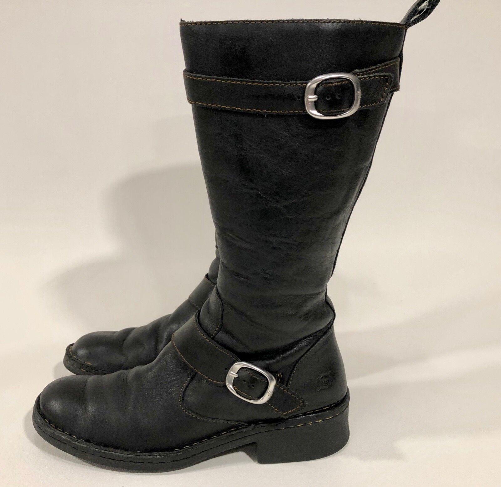 Obtén lo ultimo Nacido Para Mujeres Cuero Negro Negro Negro hasta Cremallera Lateral Hebillas botas de Montar estilo W31788  toma