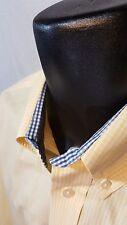CUTTER & BUCK Yellow Gingham Check Long Sleeve Dress Shirt LARGE 16.5 x 35