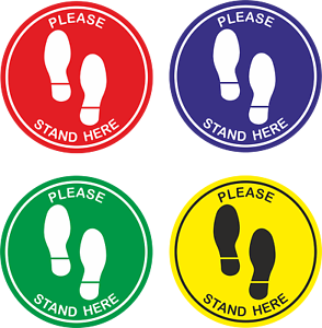 Social Distancing Floor Stickers Please stand here Non Slip  Queue Place Marker