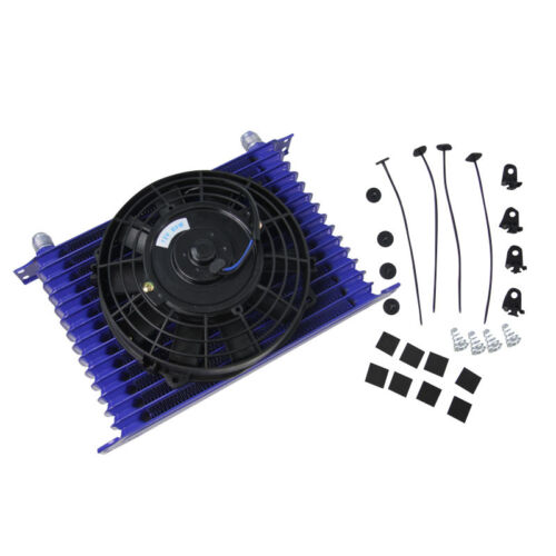 """10AN 15 ROW Universal Racing Engine Transmission Oil Cooler /&7/"""" Electric Fan Kit"""