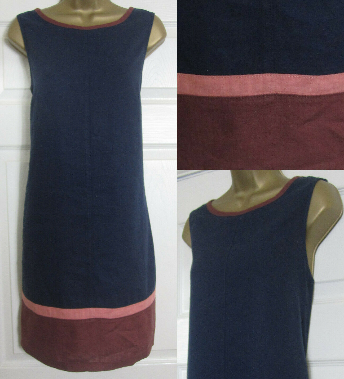 NEW Next Shift Tunic Dress Linen Blend Sleeveless Summer Colourblock Navy 8-26