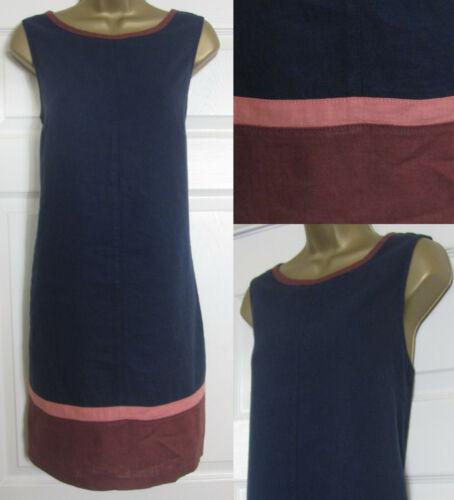 NEW Next Shift Tunic Dress Linen Blend Sleeveless Summer Colourblock Navy 8-26