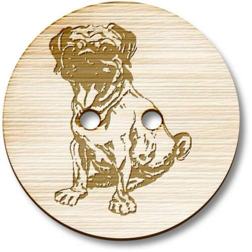 /'Sitting Pug/' Wooden Buttons BT009908
