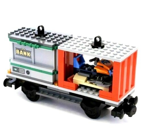 Genuine Lego City Cargo Train 60198 Snowmobile /& Bank Container Railway Wagon