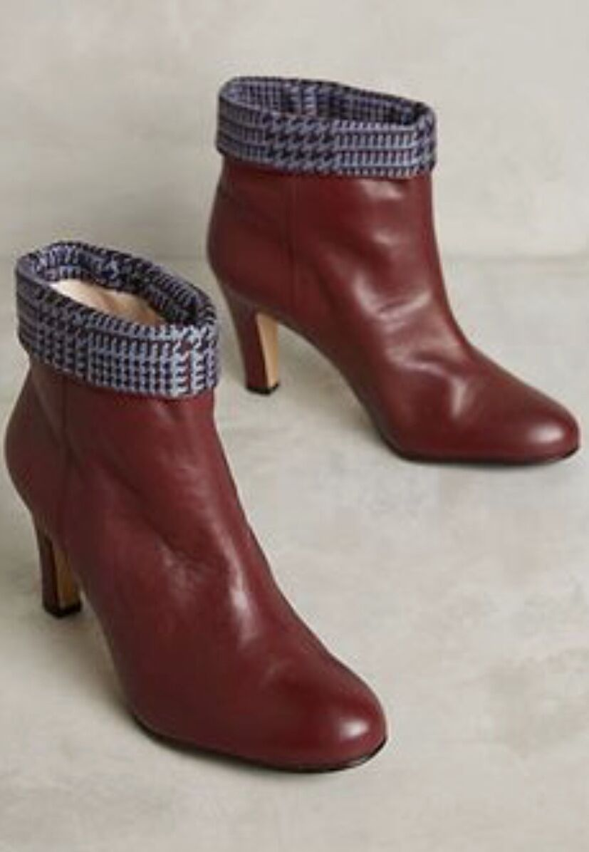 NIB Lenora wine brown bluee Leather Foldover Check Check Check Ankle Boots 39 9f33d6