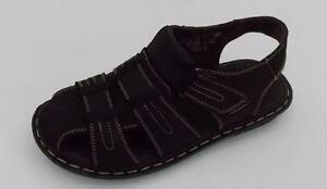 New Bonafini Men's Casual Summer Semi Open Toe Brown Leather Sandals S-502